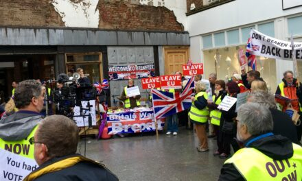Exeter demo against 'Devon for Europe' anti-Brexit march on Saturday 24th March 2018