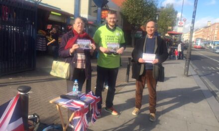 Religious Encounters, Market Stalls, Poppies and Dodgy Drains – Our Kilburn Brexit/Membership stall on 3rd November