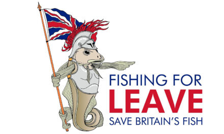 Fishing for Leave to kick-off March To Leave into Parliament Square with fishing trawler on a lorry down Whitehall
