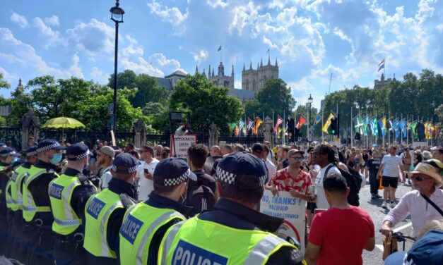 Freedom Protest Outside Parliament on So-Called Freedom Day